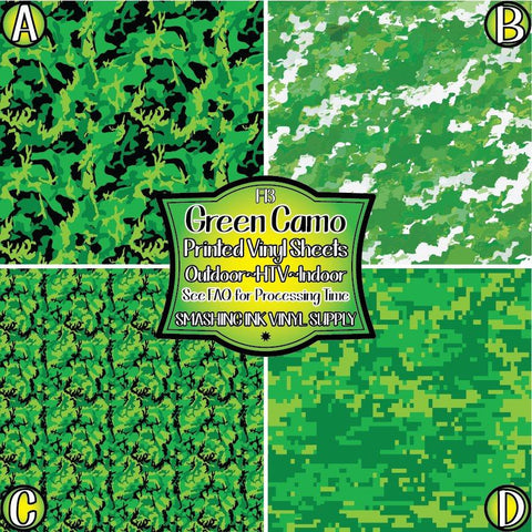 Green Camo - Pattern Vinyl (SHIPS IN 3 BUS DAYS)