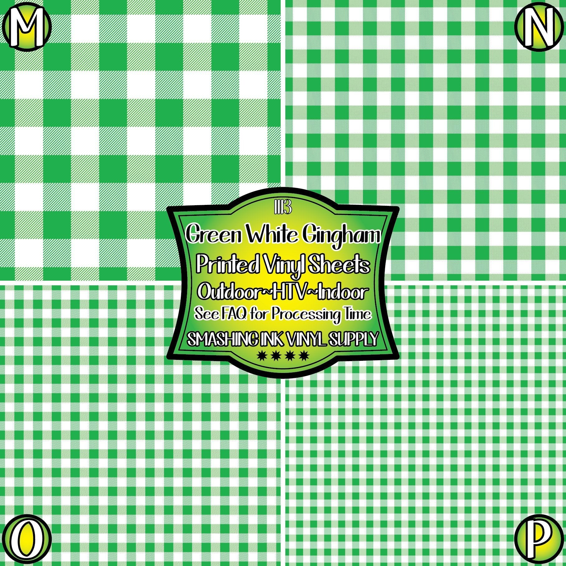 Green White Gingham - Pattern Vinyl (READY IN 3 BUS DAYS)