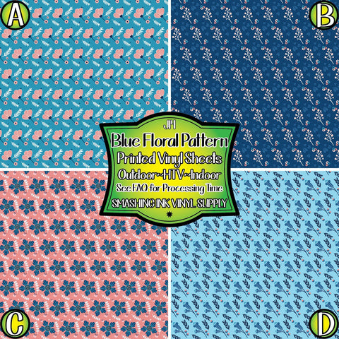 Blue Floral Pattern - Pattern Vinyl (MTO-3 BUS DAYS)