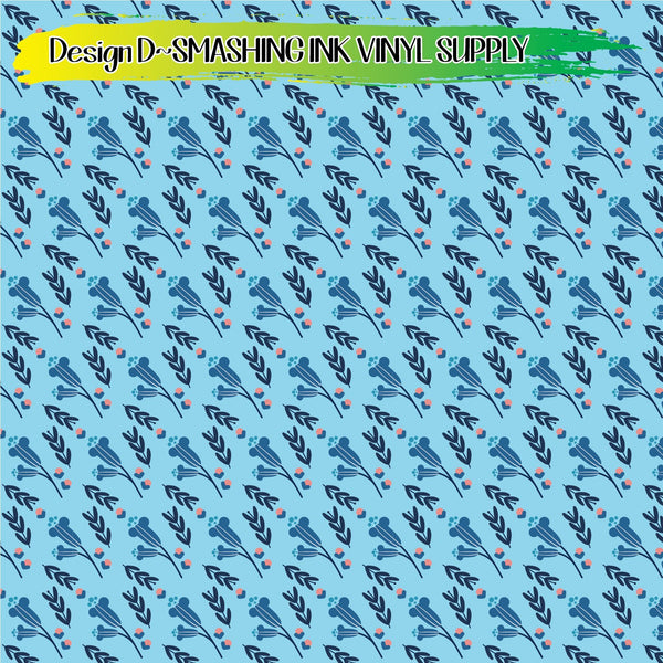 Blue Floral Pattern - Pattern Vinyl (READY IN 3 BUS DAYS)