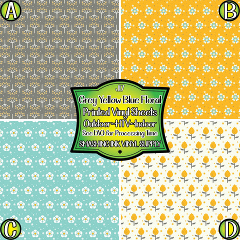 Grey Yellow Blue Floral - Patterned Vinyl Done Printed
