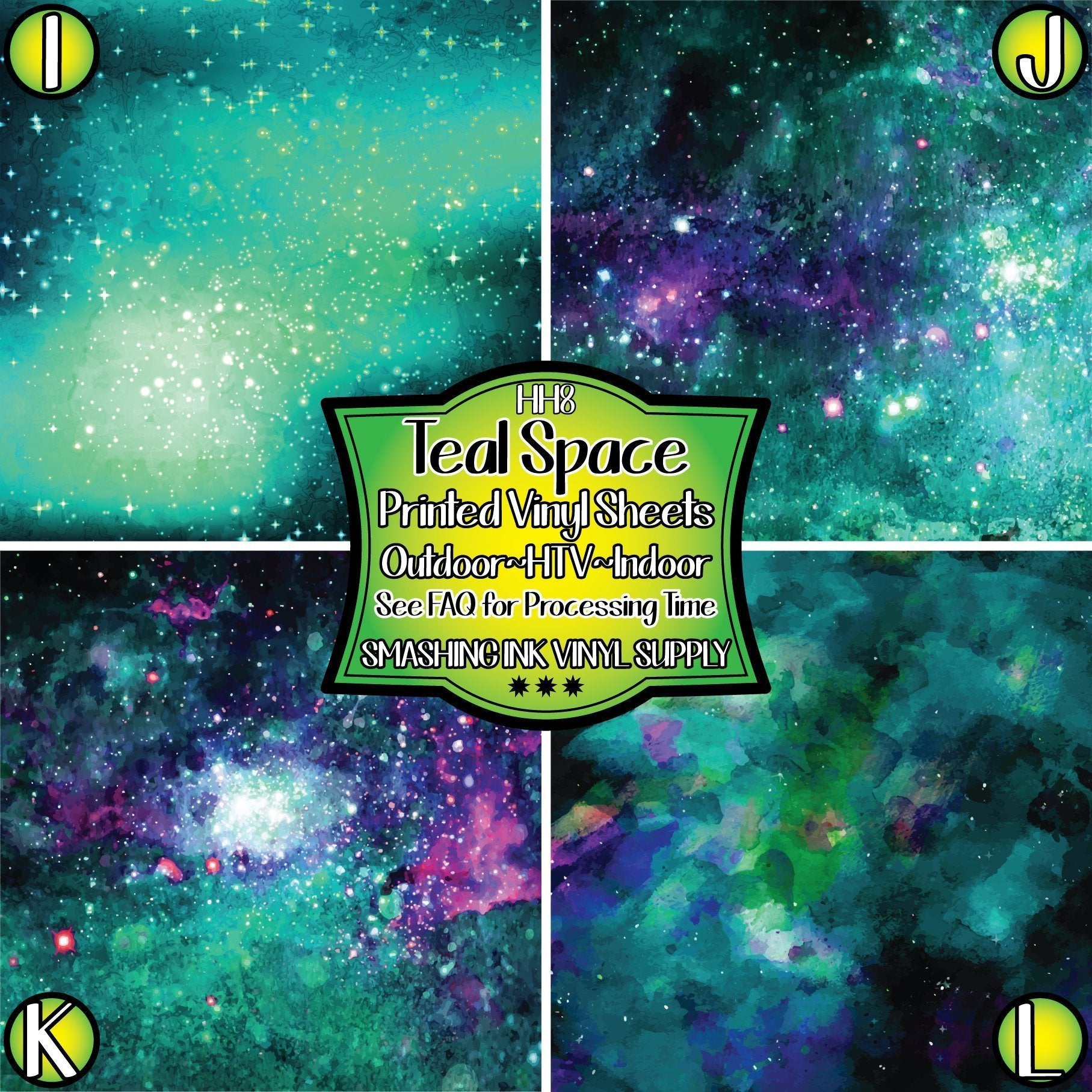 Teal Space Galaxy - Pattern Vinyl (READY IN 3 BUS DAYS)