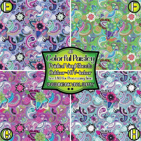 Colorful Paisley - Patterned Vinyl Done Printed