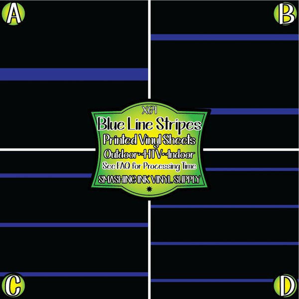 Blue Line Stripe - Pattern Vinyl (SHIPS IN 3 BUS DAYS)