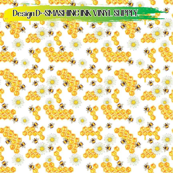 Honey Bee Pattern - Pattern Vinyl (READY IN 3 BUS DAYS)