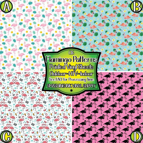 Flamingo Bird Pattern - Pattern Vinyl (MTO-3 BUS DAYS)