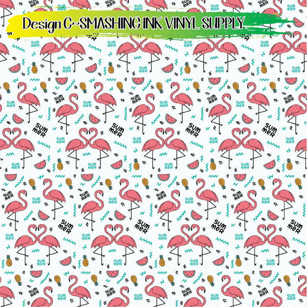 Flamingo Bird Pattern - Pattern Vinyl (READY IN 3 BUS DAYS)