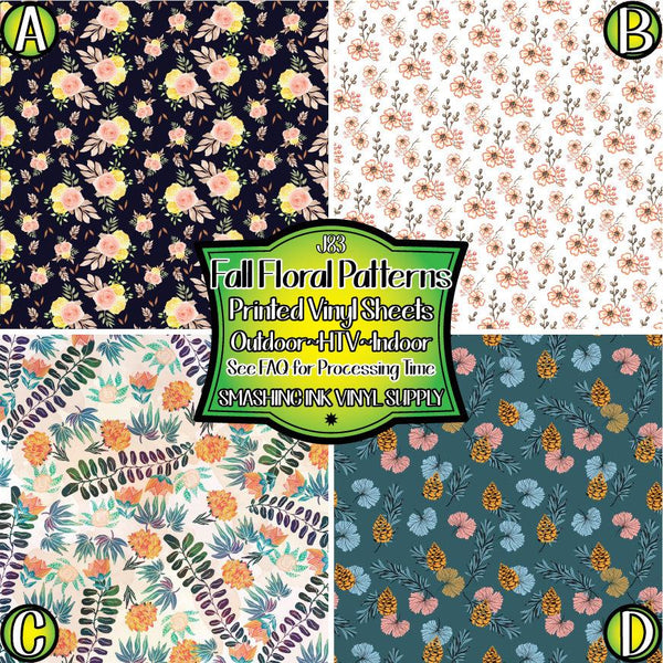 Fall Floral Patterns - Pattern Vinyl (READY IN 3 BUS DAYS)
