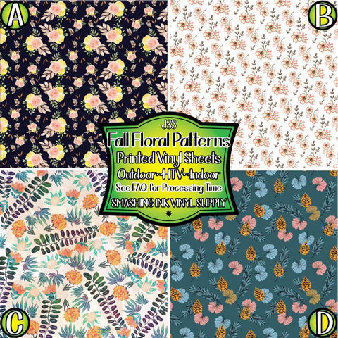 Fall Floral Patterns - Patterned Vinyl Done Printed