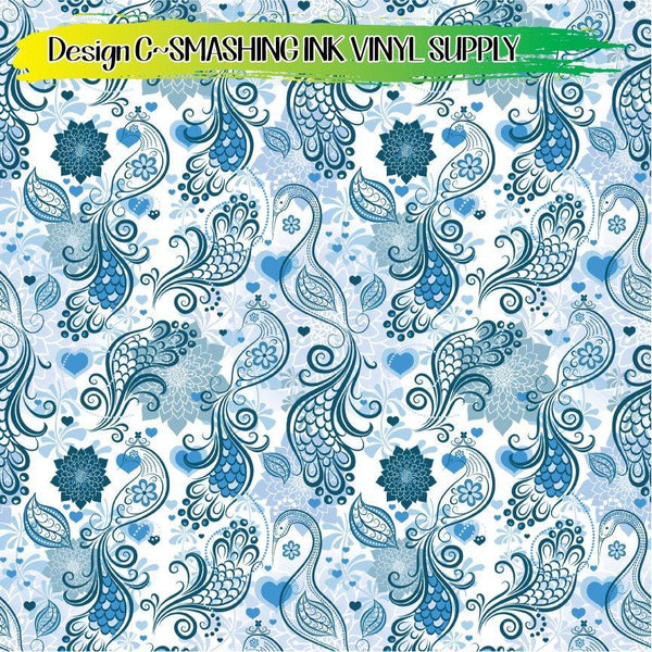 Floral Peacock - Pattern Vinyl (READY IN 3 BUS DAYS)