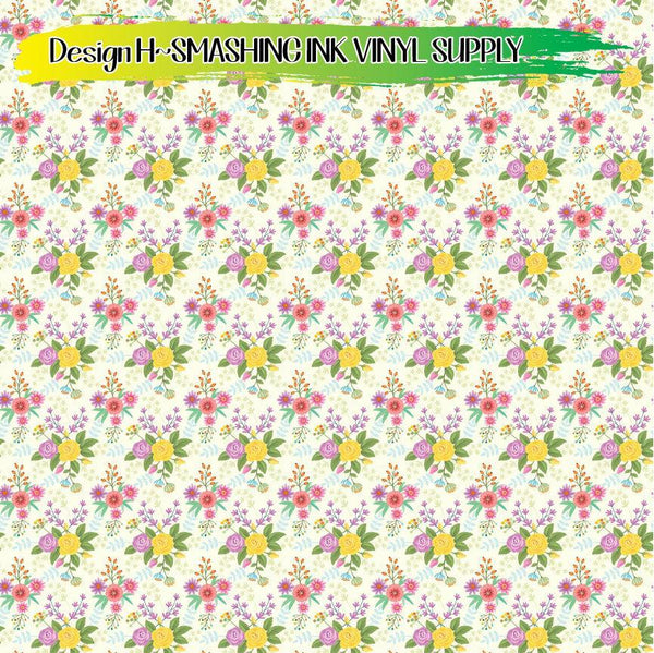 Pretty Floral Pattern - Pattern Vinyl (SHIPS IN 3 BUS DAYS)