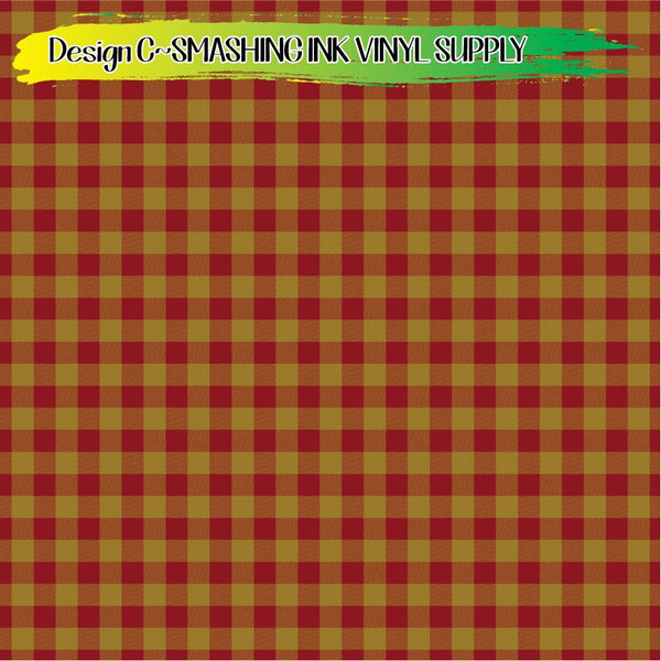 Burgundy Gold Buffalo Plaid - Pattern Vinyl (SHIPS IN 3 BUS DAYS)