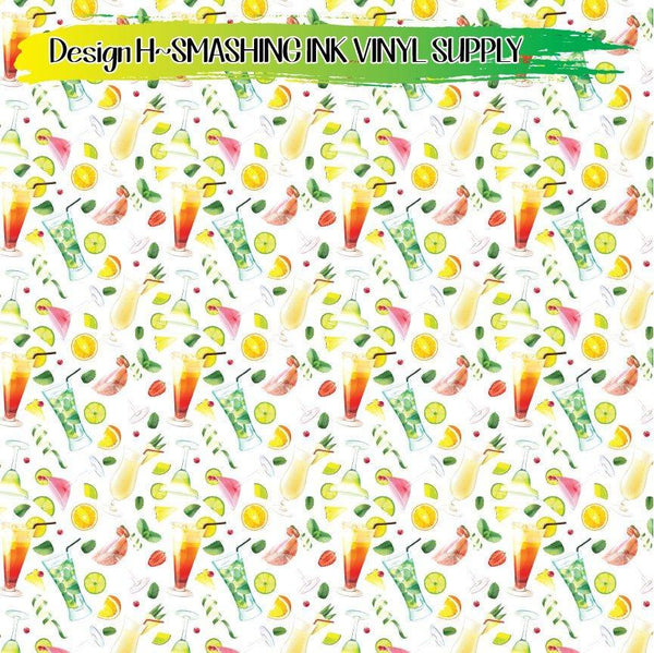 Cocktail Drink Pattern - Pattern Vinyl (SHIPS IN 3 BUS DAYS)