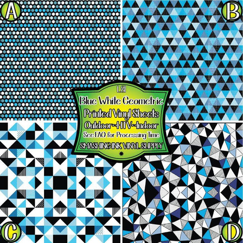 Blue White Geometric - Pattern Vinyl (READY IN 3 BUS DAYS)