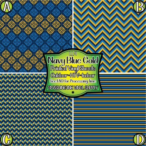 Navy Blue Gold - Pattern Vinyl (SHIPS IN 3 BUS DAYS)