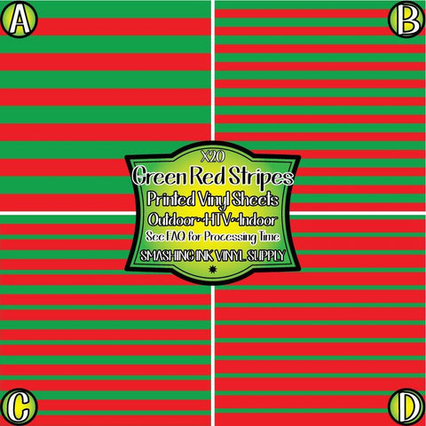 Green Red Stripes - Pattern Vinyl (READY IN 3 BUS DAYS)