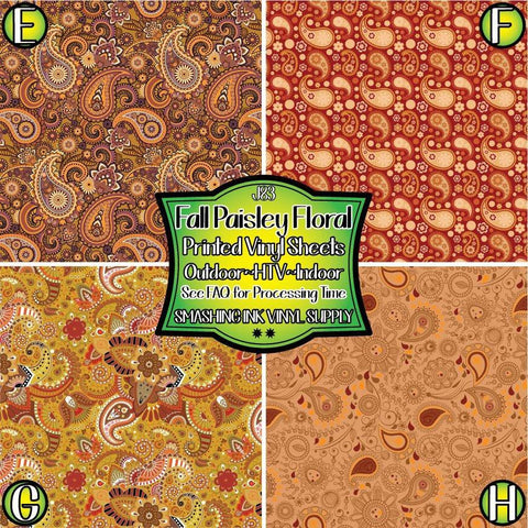 Fall Paisley Floral - Patterned Vinyl Done Printed