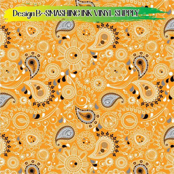 Halloween Paisley - Pattern Vinyl (READY IN 3 BUS DAYS)
