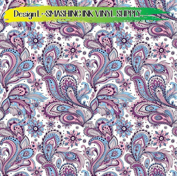 Paisley Floral Pattern - Pattern Vinyl (READY IN 3 BUS DAYS)