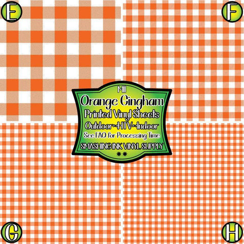 Orange Gingham Plaid - Pattern Vinyl (READY IN 3 BUS DAYS)