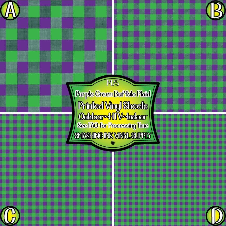 Green Purple Buffalo Plaid - Pattern Vinyl (READY IN 3 BUS DAYS)
