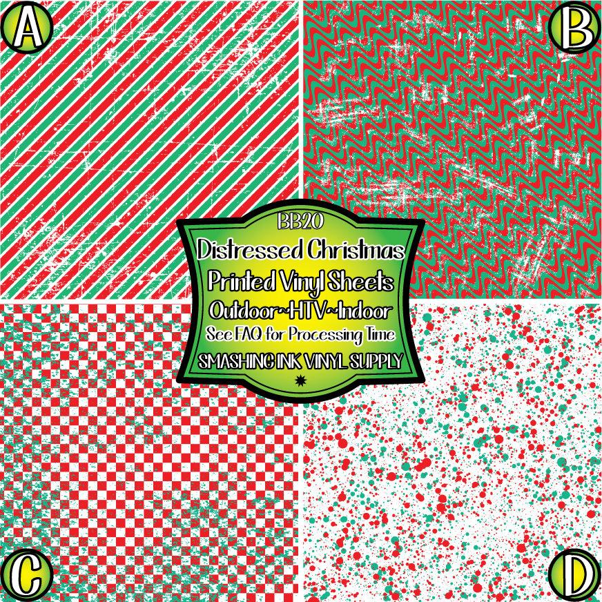 Distress Christmas - Pattern Vinyl (READY IN 3 BUS DAYS)