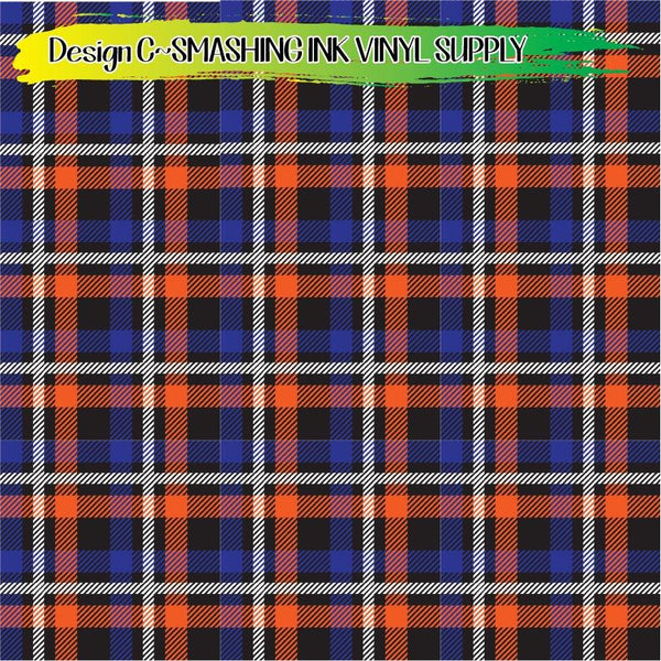 Blue Orange Plaid - Pattern Vinyl (READY IN 3 BUS DAYS)