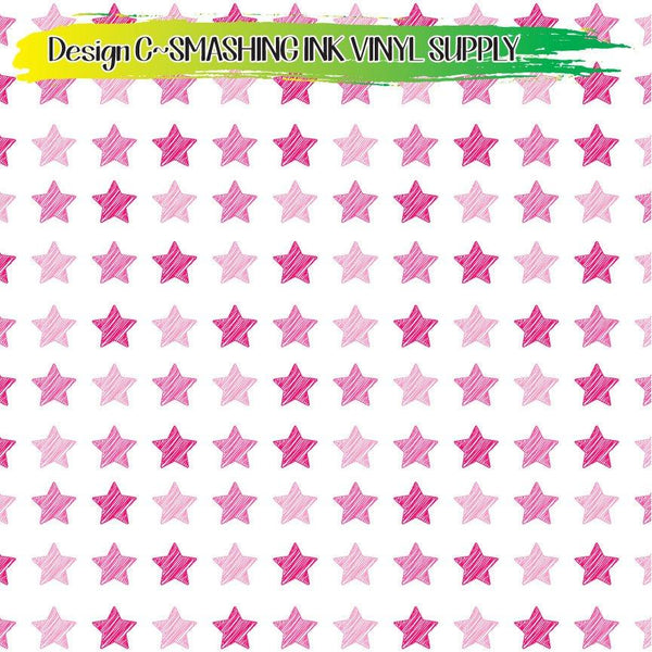 Pink Stars - Pattern Vinyl (SHIPS IN 3 BUS DAYS)