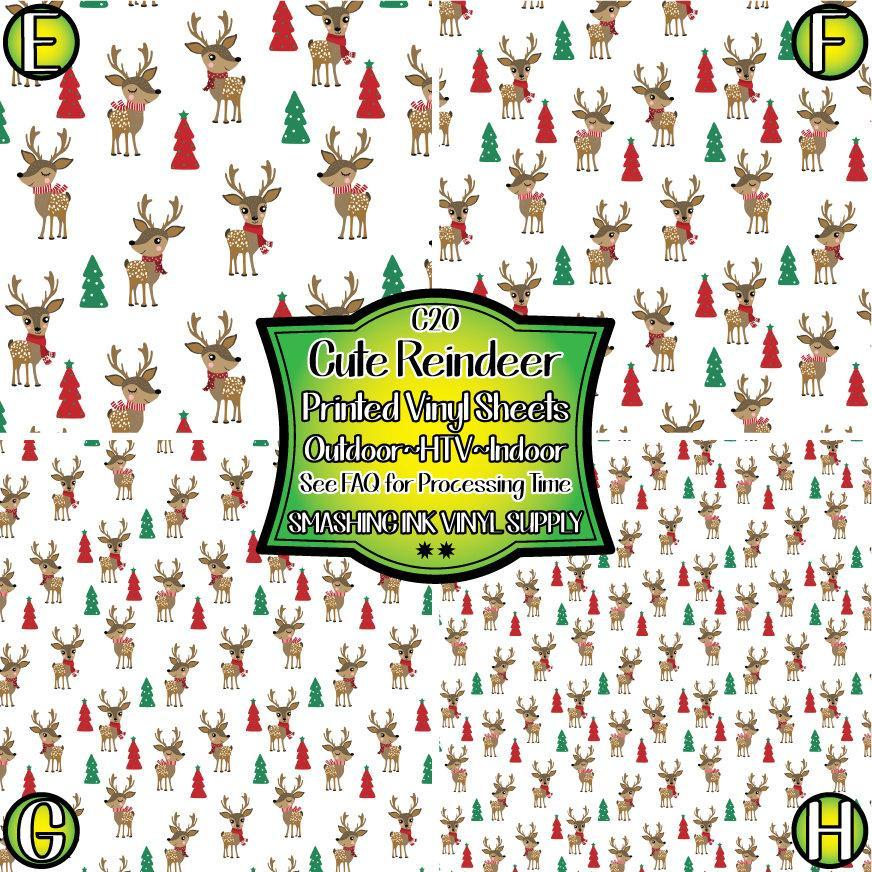 Cute Reindeer - Pattern Vinyl (READY IN 3 BUS DAYS)