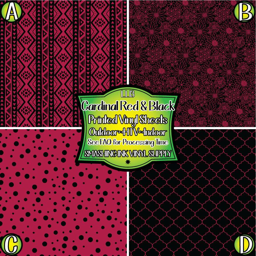 Cardinal Red Black Patterns - Pattern Vinyl (READY IN 3 BUS DAYS)