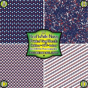 Red White Navy - Pattern Vinyl (READY IN 3 BUS DAYS)