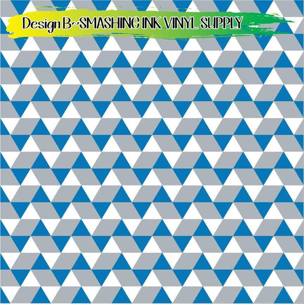 White Blue Grey - Pattern Vinyl (READY IN 3 BUS DAYS)
