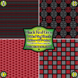 Black Red Grey - Pattern Vinyl (READY IN 3 BUS DAYS)
