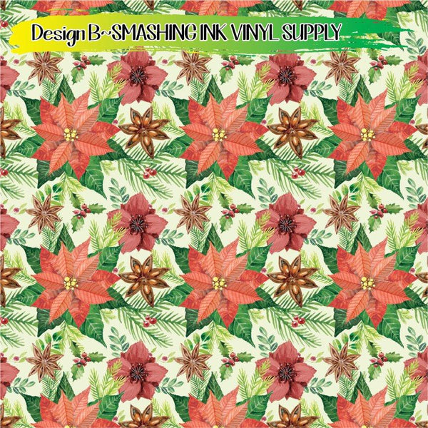 Poinsetta Pattern - Pattern Vinyl (SHIPS IN 3 BUS DAYS)