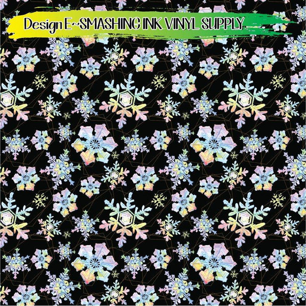 Rainbow Watercolor Snowflakes - Pattern Vinyl (READY IN 3 BUS DAYS)