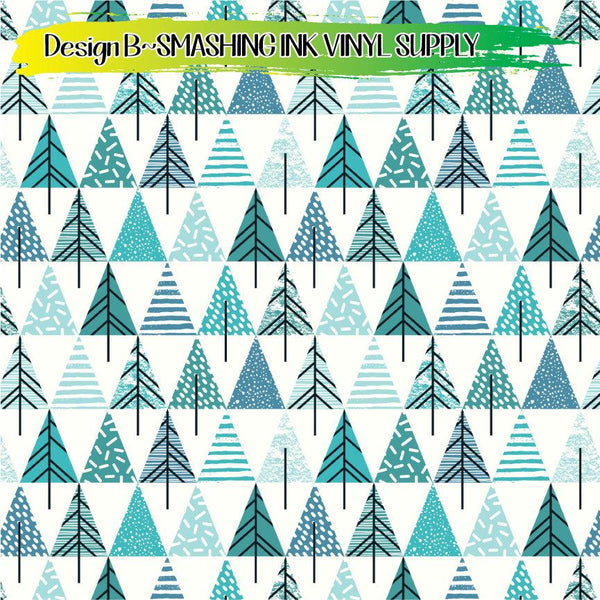 Geometric Trees - Pattern Vinyl (READY IN 3 BUS DAYS)
