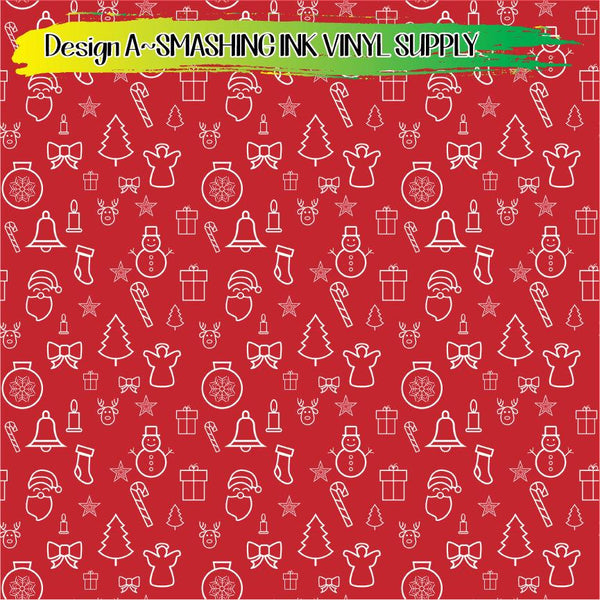 Christmas Icons - Pattern Vinyl (READY IN 3 BUS DAYS)