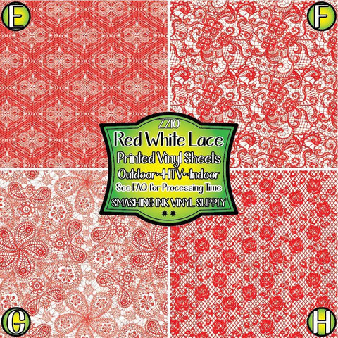 Red White Lace - Patterned Vinyl Done Printed