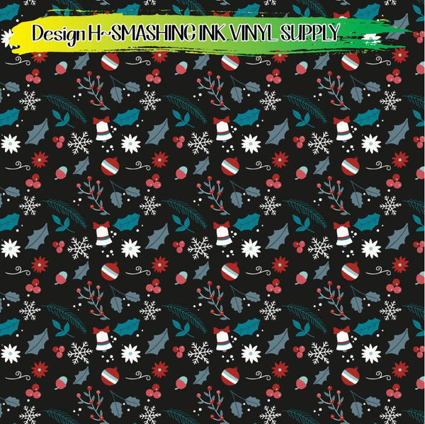 Holiday Floral - Pattern Vinyl (READY IN 3 BUS DAYS)