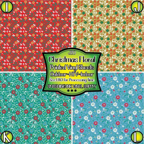 Christmas Floral - Patterned Vinyl Done Printed