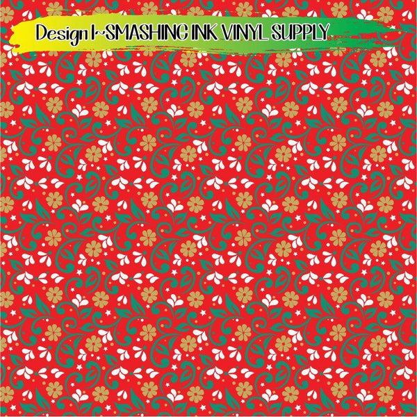 Christmas Floral - Pattern Vinyl (READY IN 3 BUS DAYS)