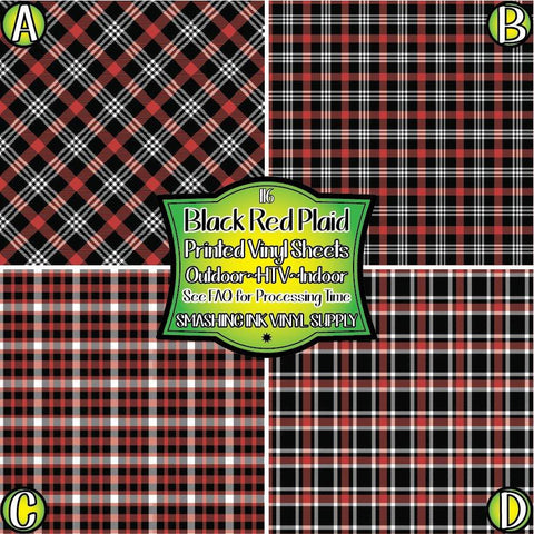 Black Red Plaid - Patterned Vinyl Done Printed