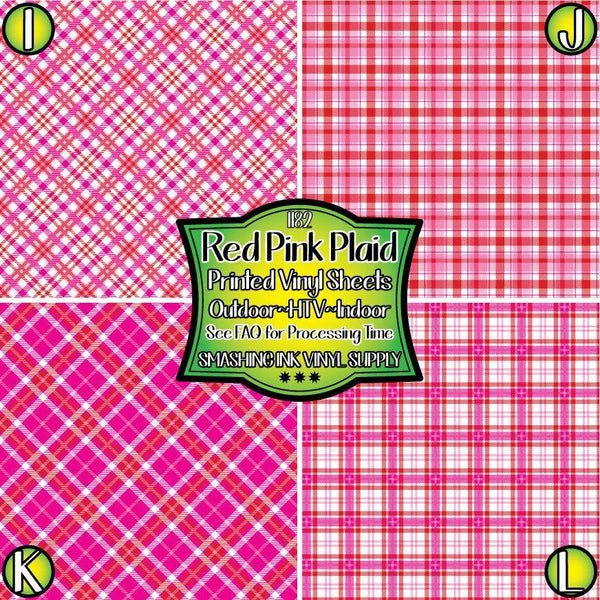 Red Pink Plaid - Pattern Vinyl (READY IN 3 BUS DAYS)