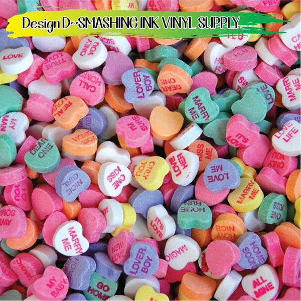Valentine Conversation Hearts - Pattern Vinyl (READY IN 3 BUS DAYS)