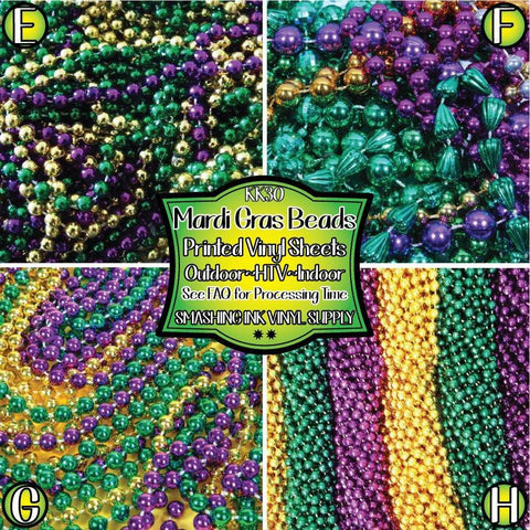 Mardi Gras Beads - Patterned Vinyl Done Printed