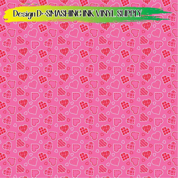 Heart Doodles Pattern - Pattern Vinyl (SHIPS IN 3 BUS DAYS)
