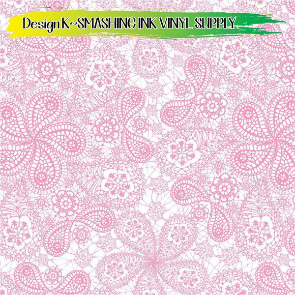 Pink White Lace - Pattern Vinyl (READY IN 3 BUS DAYS)