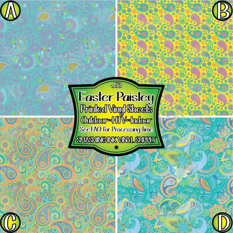 Pastel Easter Paisley - Patterned Vinyl Done Printed