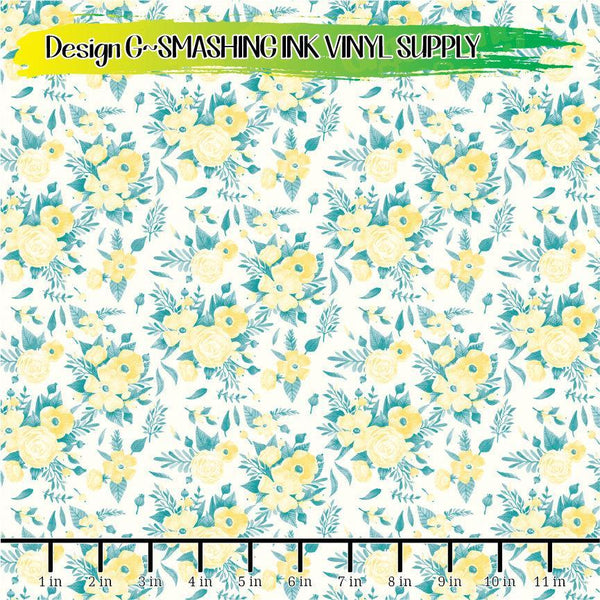Teal Yellow Grey - Pattern Vinyl (READY IN 3 BUS DAYS)