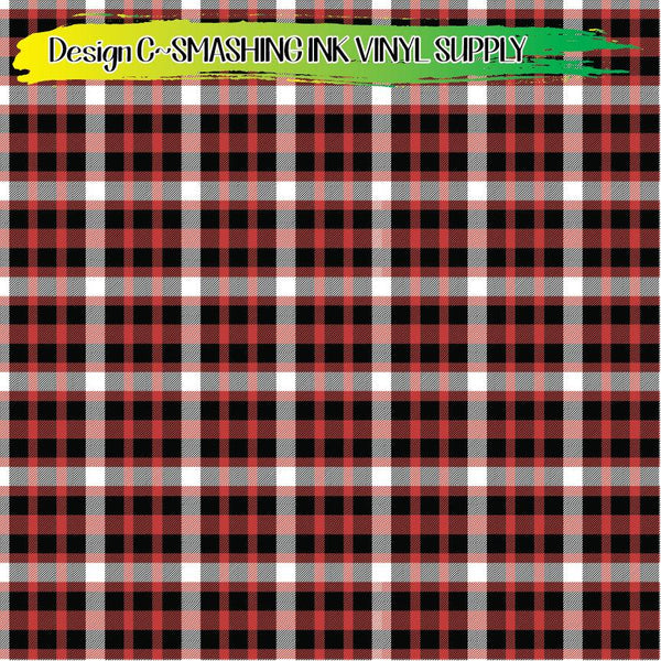 Black Red Plaid - Pattern Vinyl (READY IN 3 BUS DAYS)